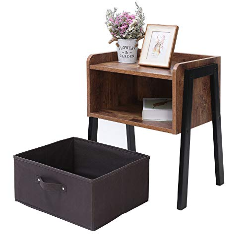 IWELL Rustic Nightstand, Wooden Small Side Table with 1 Removable Fabric Drawer for Small Spaces, End Table for Bedroom & Living Room, Solid Wood Legs Decent Furniture, Rustic Brown