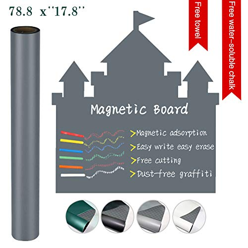 "Magnetic Blackboard Large 78.8""×17.8"" Grey Dry Erase Magnetic Board Self Adhesive Chalkboard Sticker Magnetic Board Waterproof for School Home Office Children"