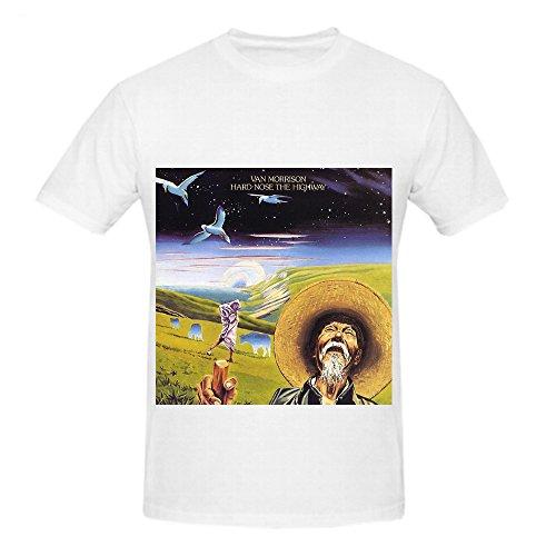 Van Morrison Hard Nose The Highway 80s Mens Round Neck Diy Shirts White (Wiz Nose)