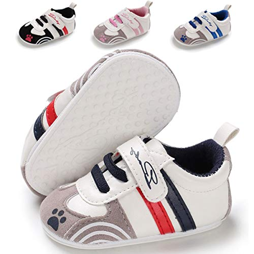 Baby Girls Boys Shoes Soft Sole Anti-Slip Toddler First Walker Infant Leather Sneakers Newborn Crib Shoes(6-12 Months M US Infant,A-Navy)