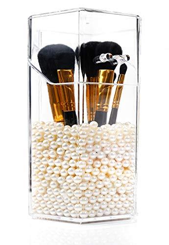 PuTwo Makeup Brush Holder with 1500 Pearls, Transparent Makeup Organiser, Hexagon Makeup Brush Organiser, Makeup Brushes…