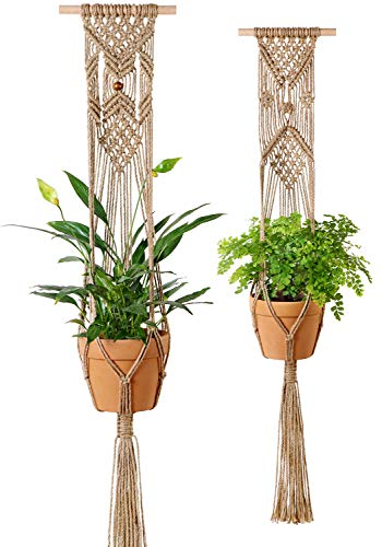 Mkono Plant Hangers Indoor Wall Hanging Planter Basket Macrame Jute Rope Boho Hippie Home Decor, Set of -