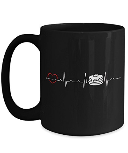 Shirt White Pancake Heartbeat Funny Great Gifts For Pizza Lover Coffee Mug 15oz -