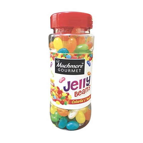 ALKAS MUCHMORE Gourmet Jelly Beans Exotic Fruit Flavored for Cake Decoration Multi Colored Yummy Chewy Candies , Pack of