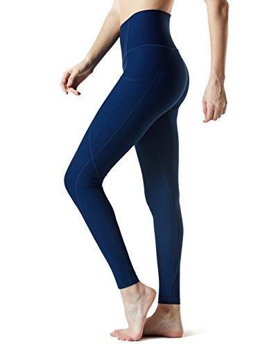 Tesla TM-FYP54-NVY_Small Yoga Pants High-Waist Leggings w Side Pockets FYP54