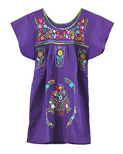 - Ethnic Identity Embroidered Mexican Youth Girl Dress (Ages 6, Purple)