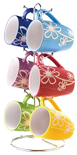 Home Basics 6 Piece Daisy Floral Ceramic 11 Ounce Mug Set For Coffee, Tea, Hot Chocolate etc. with Display Stand Multi color (Coffee Cups Hd Design)