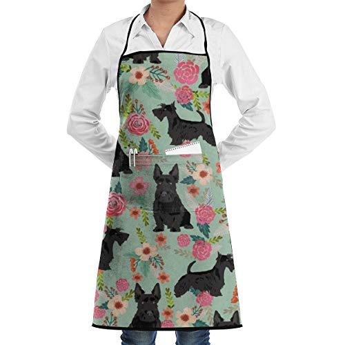 Men Women Kitchen Apron Waiter Hostess Apron Water Resistant Liquid Drop Resistant for Restaurant, Salon, Chef Black Scottie Dog Apron Extra Long Ties