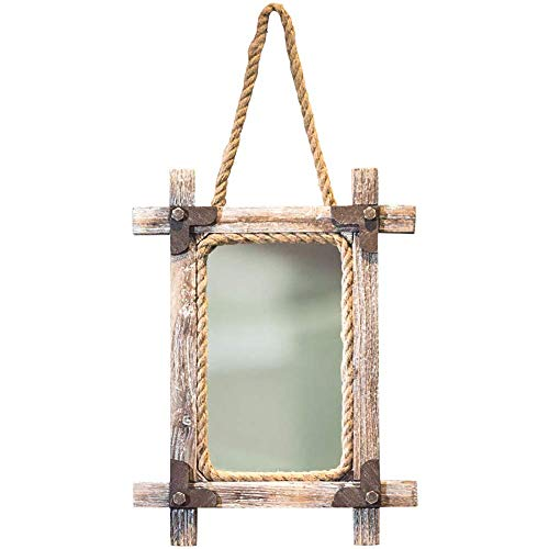 Wood Washstand - Retro Industrial Style Hemp Rope Frame Mirror, Antique Square Hanging Mirror, Clothing Store/barber Shop (Color : Wood color)
