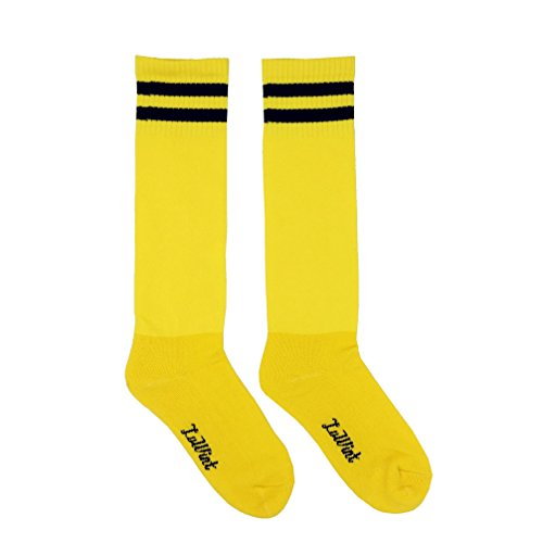 Luwint Youth Children Cotton Socks - Extra Cushion Thick Long Soccer Socks ( Yellow and Black) (Soccer Socks Yellow)