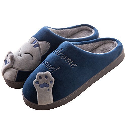pour Pantoufles Peluche d'hiver Hommes Femme Slippers Chaussons Chaudes Bleu Intérieur Chat Nasonberg Doux CqAw8vgx