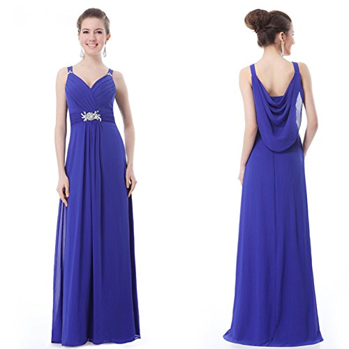 Aurora Bridal Dress Spaghetti Royal s Evening Blue Chiffon Women Strap rrC7qOw