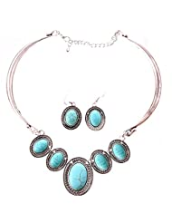 Qiyun Tibet Silver Collar Choker Turquoise Blue Bead Stone Necklace Earrings Set Turquoise Argent Pierre Bleue Collier