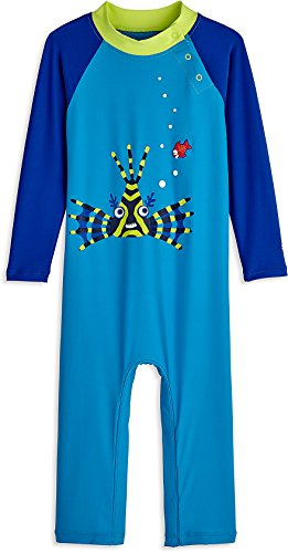 Coolibar UPF 50+ Baby Beach One-Piece Swimsuit - Sun Protective (18-24 Months- Scuba Blue Sea Lion)