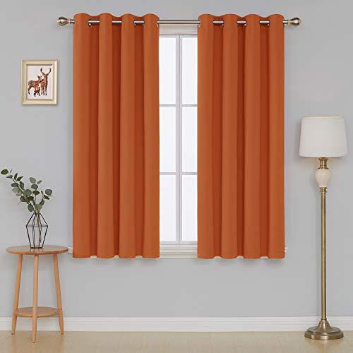 Deconovo Grommet Plush Orange Thermal Insulated Blackout Curtain Panel 52x63 Inch