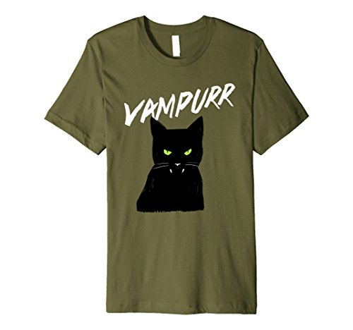 Mens Vampire Cat - Halloween Costumes T-Shirt - Funny Cats Tee Medium (Vampire Cat Costume)