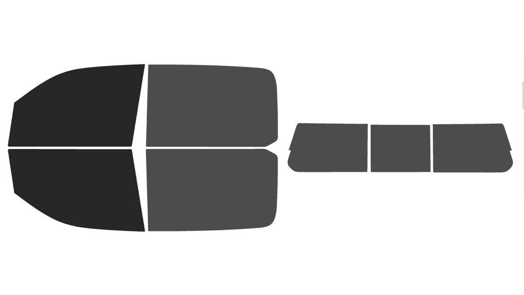 Precut Window Tint Kit - Fits: 5th Generation 2019 Ram 1500 Crew Cab Truck (Includes: Front Windshield Visor precut in 5%) Automotive Window Film The Tint Effect