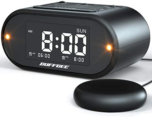 Buffbee Super Loud Alarm Clock for Heavy Sleepers with Bed Shaker, Flashing Alert Light, Full Range Dimmer, USB Charger, Battery Backup Vibrating Alarm Clock for Bedrooms