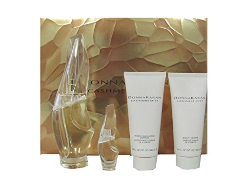 Cashmere Mist by Donna Karan Gift Set: 3.4 oz Eau de Parfum Spray + .17 oz Eau de Parfum Miniature + 3.4 oz Body Cream + 3.4 oz Body Cleansing (0.17a Miniature)