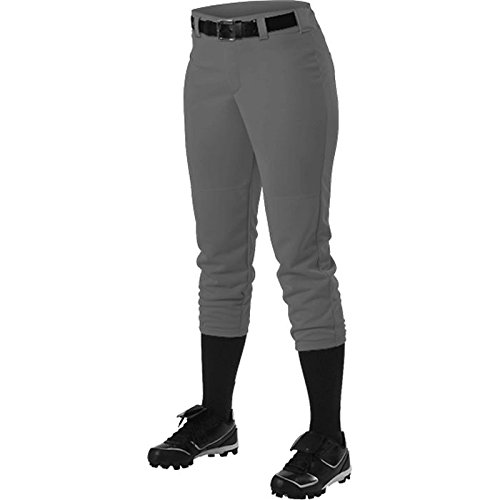 Alleson Ahtletic Women's Fast Pitch Softball Belt Loop Pants, Charcoal, Medium