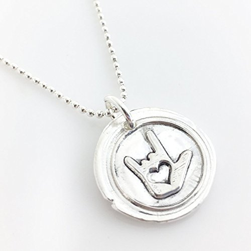 ASL I Love You Wax Seal Necklace