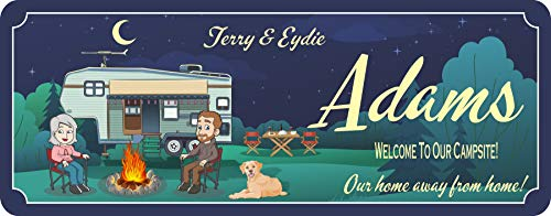 Custom RV Sign With Cartoon Scene - Personalized Camping Signs for Your RV - Welcome to our Campsite Sign with Customizable Text & Design