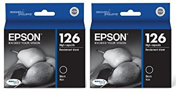 Genuine Epson 126 (T126120) DURABrite Ultra High Capacity Black Ink Cartridge 2-Pack