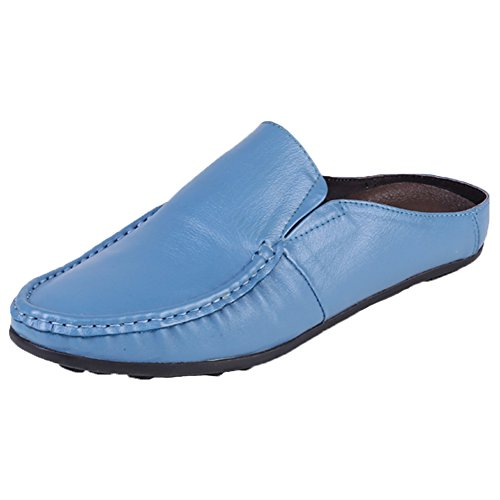Santimon Slippers Mules Clog Men Classical Comfortable Leather Slip on Shoes Casual Loafers Blue Itj2xcg