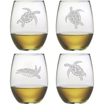 Sea Turtle Stemless Wine Glass (Set of 4)