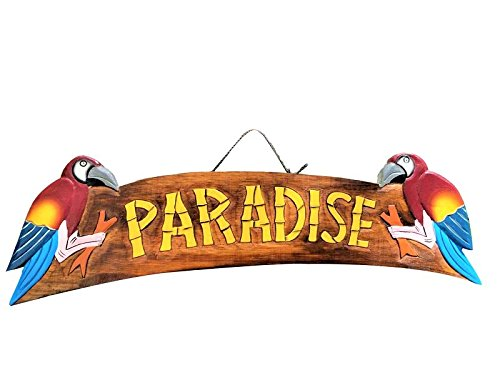 22'' x 5'' HANDCARVED & PAINTED WOOD ''PARADISE'' WITH PARROTS TROPICAL DECOR SIGN!