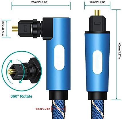 5m Bleu Doggo C/âble Audio Optique num/érique coud/é /à 90/°