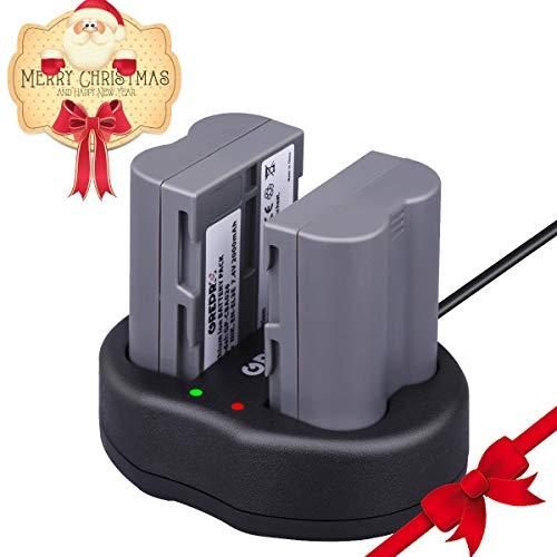 D70s Battery Pack (Grepro EN-EL3e Replacement Camera Battery Charger Set 2 Pack Rechargeable Lithium-Ion Battery Charger Kit 100% Compatible with Nikon D50, D70, D70s, D80, D90, D100, D200, D300, D300S, D700 (2000mAh))