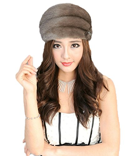 YR Lover Women's Warm The Whole Skin Mink Fur Peaked Cap Fashion Beret Hat