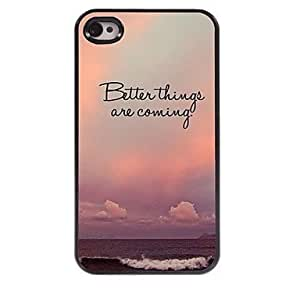 SHOUJIKE Better Things Are Coming Design Aluminum Hard Case for iPhone 4/4S , Multicolor