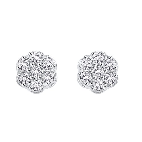 Diamond Floral Cluster Earrings in 10K Gold 1 4 cttw Color JK, Clarity I2-I3