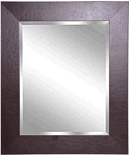American made rayne wide brown leather beveled wall mirror for Mirror 42 x 36