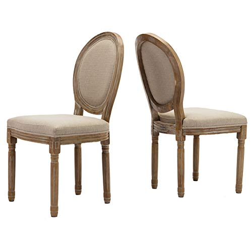 (Farmhouse Dining Room Chairs, French Distressed Bedroom Chairs with Round Back, Elegant Tufted Kitchen Chairs, Set of 2, Beige )