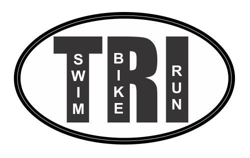 Tri Oval Triathlon Vinyl Sticker (Triathlon Sticker)