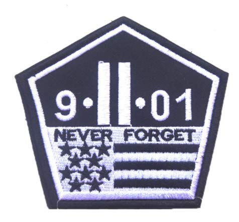 Never Forget 911 World Trade Center Twin Towers Military Patch Fabric Embroidered Badges Patch Tactical Stickers for Clothes with Hook & Loop -