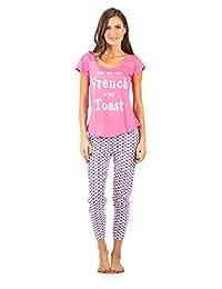 Casual Nights Women's Short Sleeve Printed Capri Pajama Set