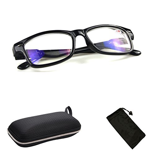 (#NSWayF) Nearsighted Wayfarer Retro Classic Oval Style Shape Clear Lens Rx Able Driving Glasses Myopia Scratch Resistant Lenses Comfort Fit + FREE Hard Case + Storage Pouch by CPS