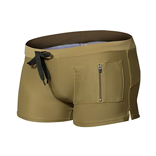 LETSQK Men's Beach Sexy Havana Short Swim Trunk Gold L
