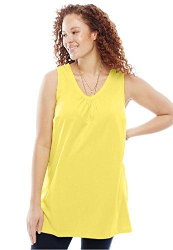 Women's Plus Size Sleeveless Perfect Tunic Lemon - Tunic Shirred Cotton