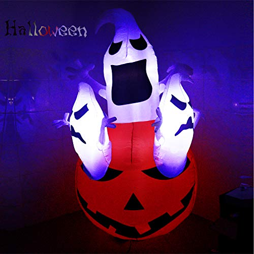 DAMGOO 6 Ft Inflatable Halloween Spooky Ghost & Pumpkin Decoration Ghosts Break Out from Pumpkin Decorations Inflatables for Lawn Garden Home Indoors Outdoors Day Night