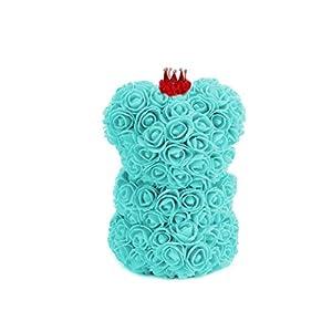 Bear Flower, Rose Bear Teddy Bear Cub Forever Artificial Rose Anniversary Bubble Flower Bear (Sky Blue, 9x6.3inch) 119