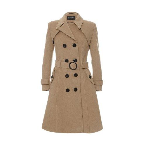De La Creme Women`s Wool & Cashmere Winter Long Belted Coat Camel Size 8
