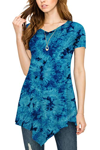 (Over Tie-Dye Tunic Top XL TEAL)