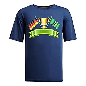 Custom Mens Cotton Short Sleeve Round Neck T-shirt, Printed with World Cup Images navy by Maris's Diary