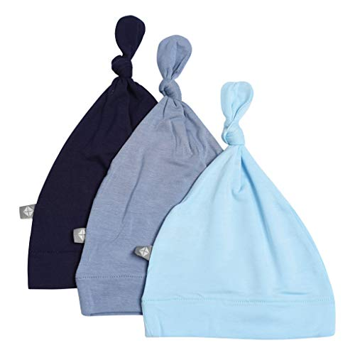 KYTE BABY Organic Bamboo Rayon Baby Beanie Soft Knotted Caps, 0-3 Months, Navy/Slate/Powder, 3 Pack