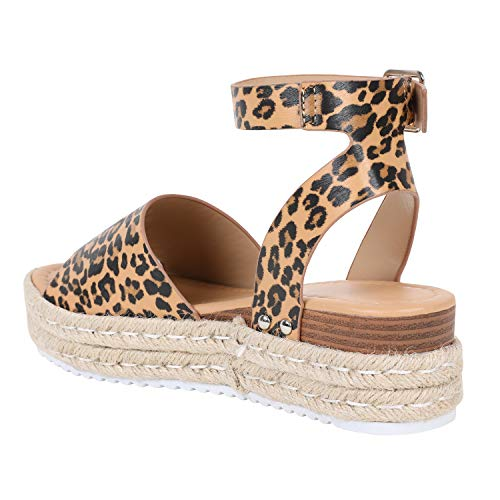 67581f875f ... LAICIGO Womens Open Toe Espadrille Ankle Strap Boho Lace Up Rivet  Flatform Sandals